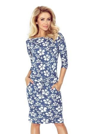 Sukienka sportowa casual kwiaty niebieskie