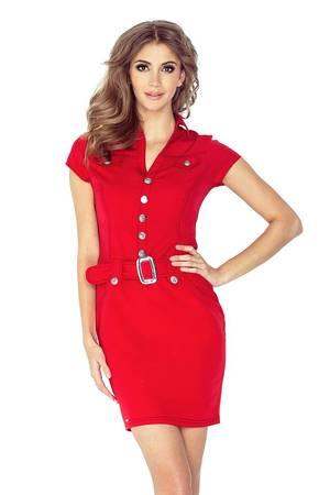 Sukienka wojskowa z guziczkami czerwona