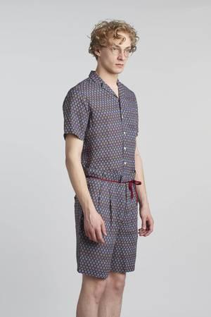 Printed linen bermuda shorts
