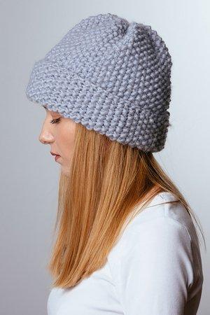 4b619bedbc7d50 ... beżowa czapka oversize z naturalnym futerkiem · POMPOM - POMPOM - szara  czapka wełniana ...