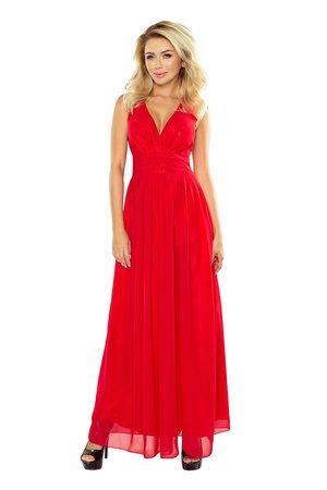 Sukienka zwiewna tesso czerwona maxi