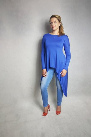 Bluzka bluza bat nietoperz niebieska kobaltowa