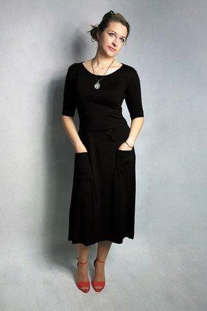 Sukienka abo z kieszeniami midi czarna