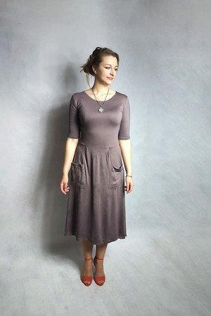 Sukienka abo z kieszeniami midi grafitowa