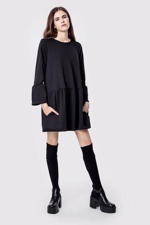 Sukienka bawelniana z kieszeniami basic romantic black
