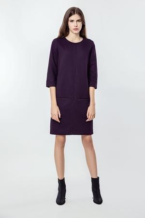Sukienka bawelniana z kieszeniami basic smart purple