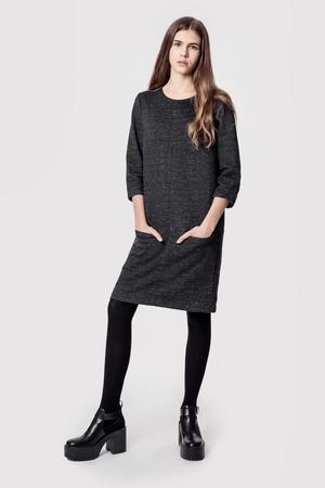 Sukienka bawelniana z kieszeniami basic smart grey melange
