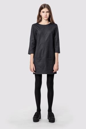 Sukienka bawelniana z kieszeniami basic smart grey denim