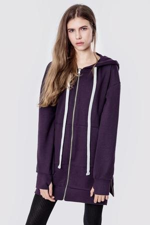 Bluza bawelniana z kapturem i suwakami basic purple