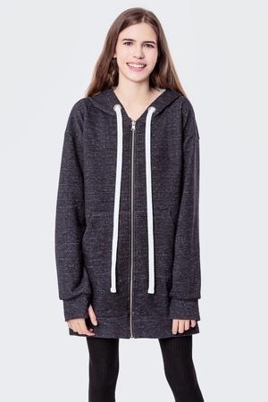 Bluza bawelniana z kapturem i suwakami basic grey melange