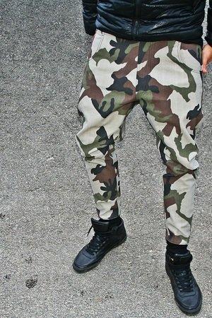 Spodnie 2 buttons jeans pants unisex moro