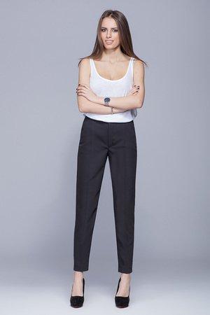 Eleganckie dlugie spodnie czarne h022