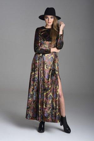 Aksamitna sukienka maxi orientalny wzor