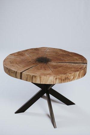 Stolik kawowy debowy z plastra drewna z zywica