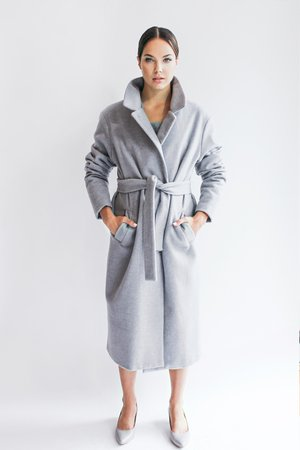 Welniany plaszcz scandinavian dream grey wool