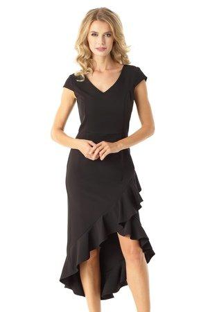 Sukienka z dluzszym tylem naomi czarna ed026 3