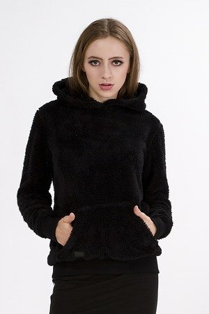Bluza teddy z kapturem czarna