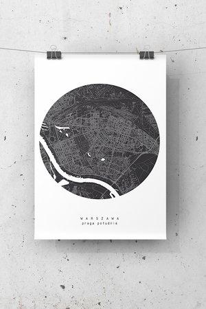 Plakat mapa warszawa praga poludnie b2