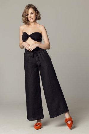 Spodnie lniane monte carlo czarne