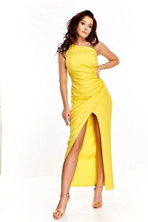 1a809bf3c5 Żółta Sukienka Z Falbanką I Wiązaniem - Żółty