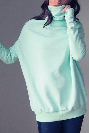 0ea860608d7017 ONE MUG A DAY - Miętowy golf buka bluza oversize ...