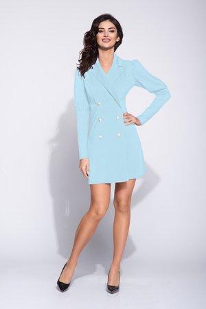11a83c1a0e Bien Fashion - Błękitna dwurzędowa sukienka w koktajlowym fasonie ...
