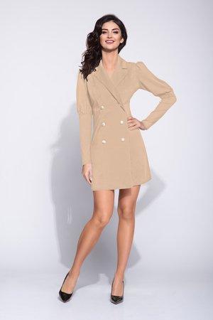fd42319194 Bien Fashion - Beżowa dwurzędowa sukienka z bufami ...