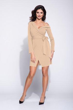 7ce3fb72b5 Bien Fashion - Elegancka beżowa sukienka kopertowa na jednym ramiączku ...