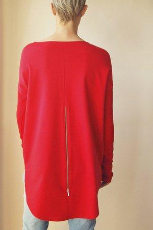 104bc9a84f025e ONE MUG A DAY - Bluza tunika asymetryczna Frak okrągły Czerwona ...