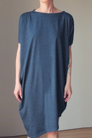 3748811867 ONE MUG A DAY - Asymetryczna sukienka krótki rękaw jeans melanż ...