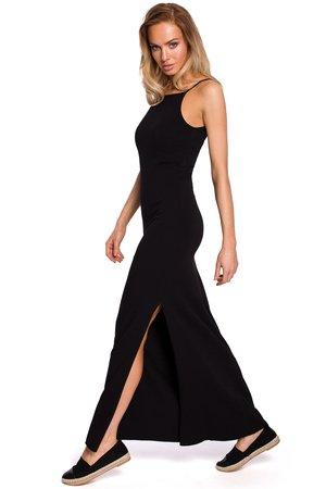 M432 bawelniana sukienka maxi na ramiaczkach