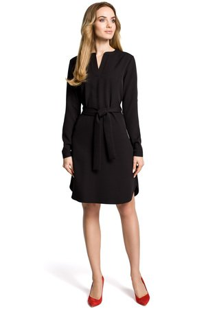 M361 sukienka koszulowa z paskiem czarna