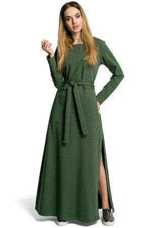 M354 sukienka maksi z rozcieciem militarno