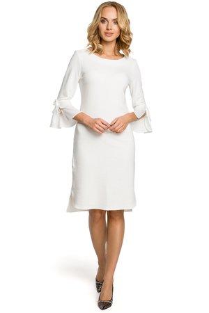 M327 sukienka z warstwowymi rekawami ecru