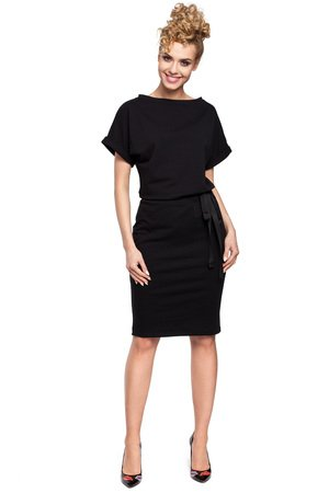 M284 sukienka midi z wiazaniem w pasie czarna