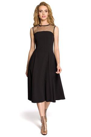 M271 rozkloszowana sukienka z tiulem w dekolcie
