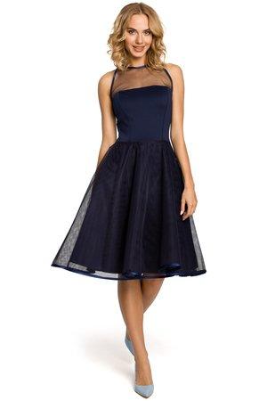 M148 wieczorowa sukienka z tiulowym dekoltem