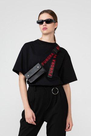 Skorzana torebka z czerwonym paskiem furora