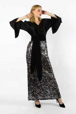 Glow jedwabna sukienka z cekinami