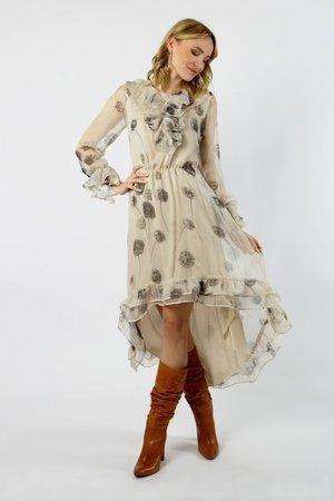 Yasumi unikatowa jedwabna sukienka z falbankami