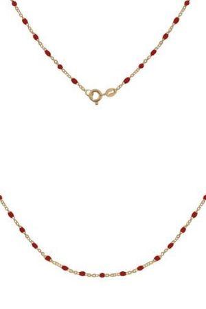 Srebrny pozlacany naszyjnik z czerwona emalia