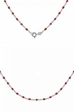 Srebrny naszyjnik z czerwona emalia