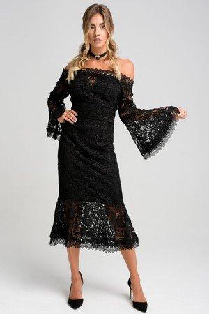 Czarna koronkowa sukienka midi melissa
