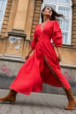 Meetme azurowa sukienka bawelniana