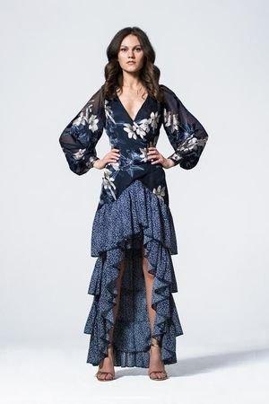 Jedwabna sukienka z falbanami sena