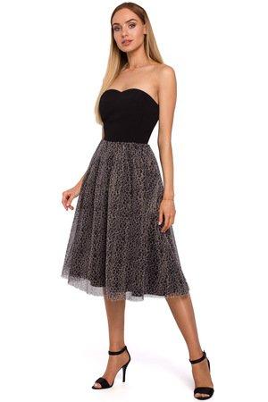 M482 sukienka gorsetowa z tiulem w panterke