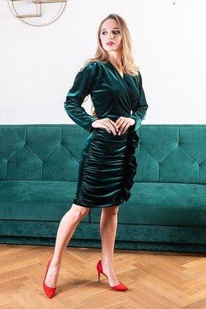 Sukienka mini z marszczona spodnica i falbana my