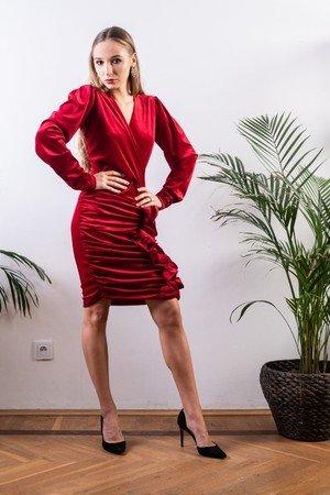 Welurowa sukienka mini mydream czerwona