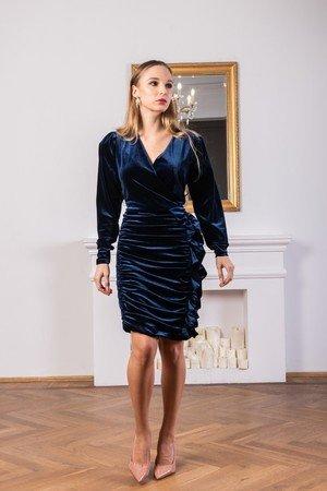 Welurowa sukienka mini mydream granatowa