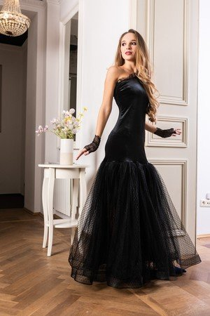 Welorowo tiulowa suknia wieczorowa midnight